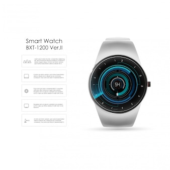 Realistische darstellung von smartwatch, technologiefunktionen und vorlagentext. intelligente illustration.