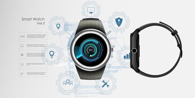 Realistische darstellung von smartwatch, technologiefunktionen und vorlagentext.