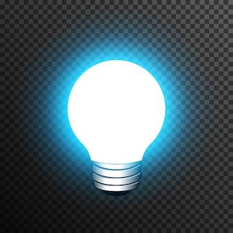 Realistische dekoration der glühlampe transparent