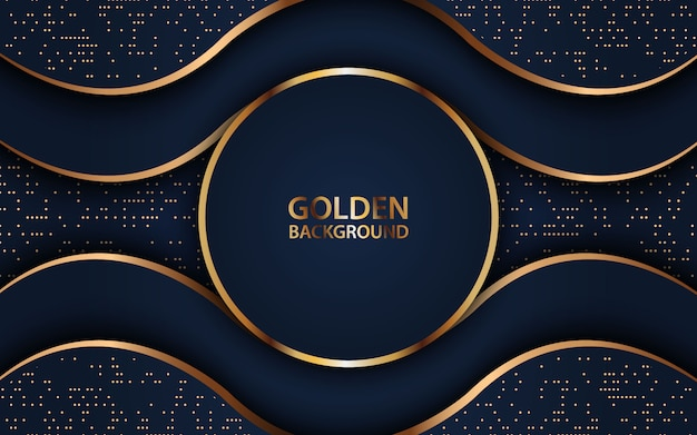 Realistische dekoration des dunklen wellenüberschneidungshintergrundes mit goldenem funkeln.