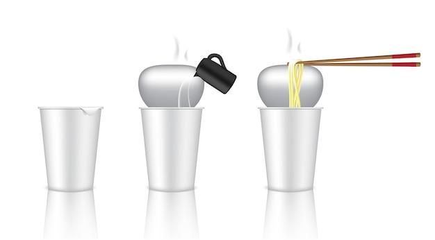 Realistische design hot cup nudel