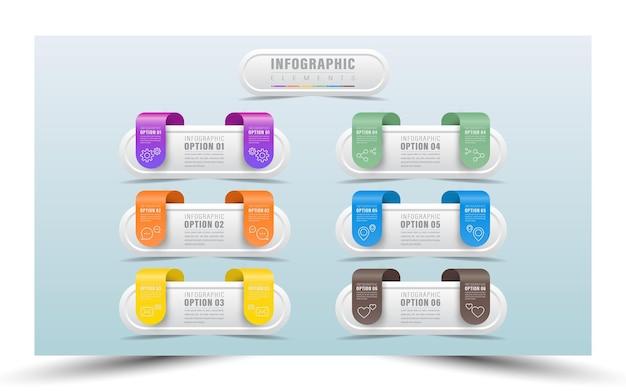 Realistische design-infografik für unternehmen mit 6 schritten