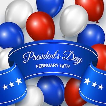 Realistische design-luftballons für den tag des präsidenten
