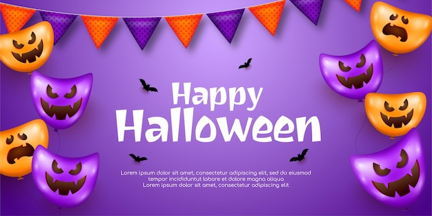 Realistische designvorlage glückliches vertikales halloween-banner