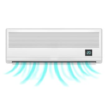 Realistische detaillierte klimaanlage isoliert auf weißem hintergrund symbol des komforts.