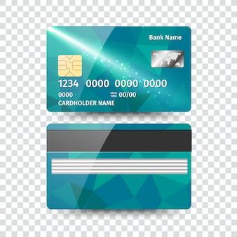Realistische detaillierte kreditkarte mit abstraktem geometrischem design lokalisiert auf weißem hintergrund. illustration