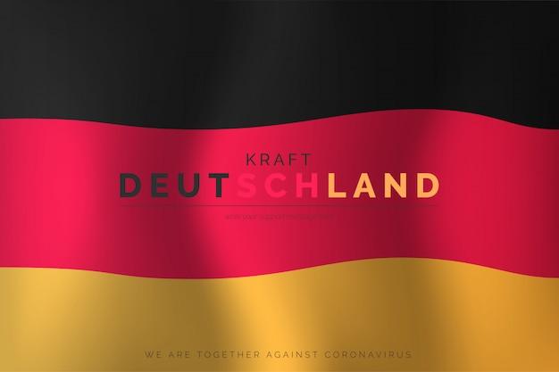 Realistische deutsche flagge mit unterstützungsnachricht