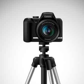 Realistische digitale fotokamera auf stativ