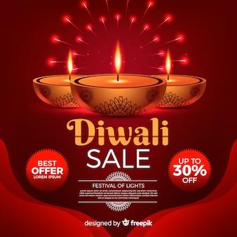 Realistische diwali festival sale banner