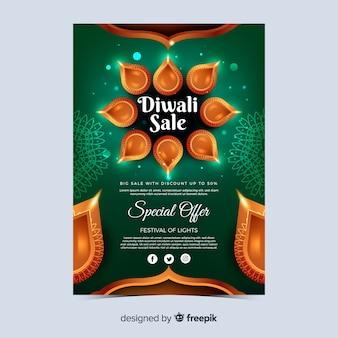 Realistische diwali festival sonderangebot poster