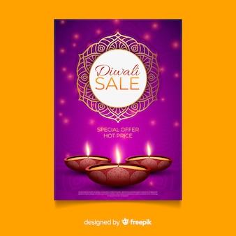 Realistische diwali verkauf flyer vorlage