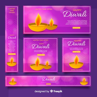 Realistische diwali-web-banner