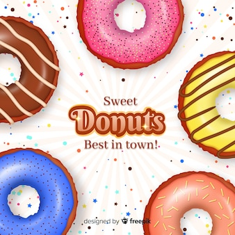 Realistische donut-anzeige mit glasur und streuseln