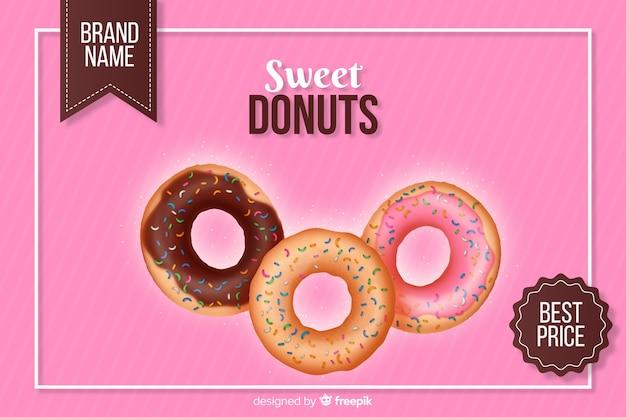 Realistische donut-anzeige mit glasur