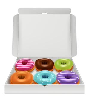 Realistische donuts im karton