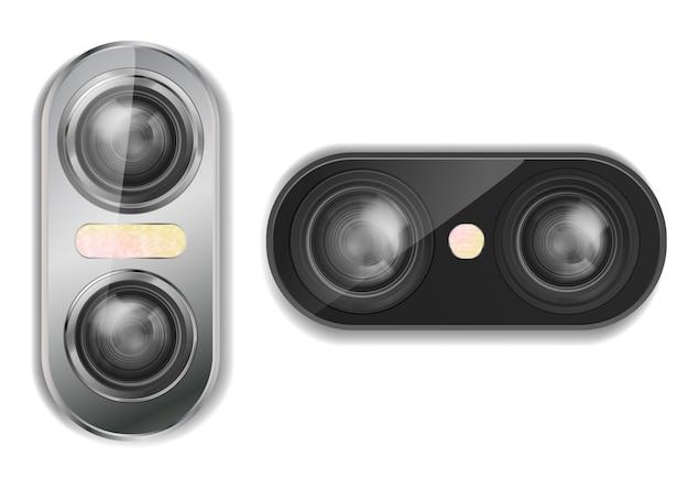 Realistische doppelkamera 3d für smartphone mit zwei objektiven und blitz, lokalisiert auf hintergrund.