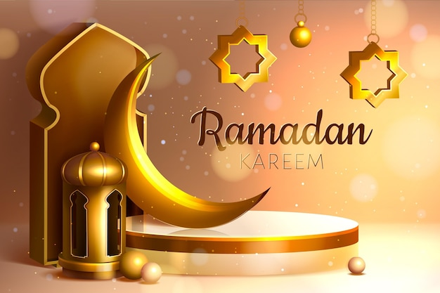 Realistische dreidimensionale ramadan-kareem-illustration Kostenlosen Vektoren