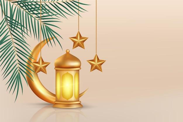 Realistische dreidimensionale ramadan-kareem-illustration