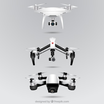 Realistische drone sammlung von drei