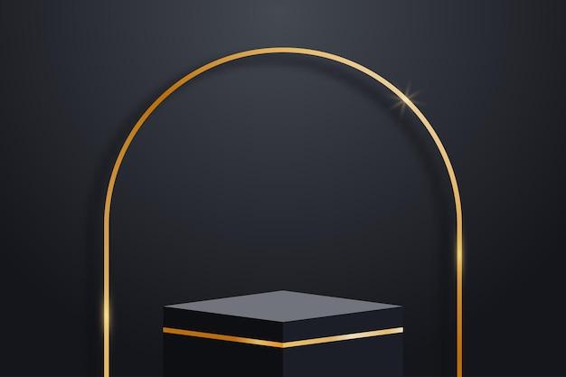 Realistische dunkle plattform mit goldenen verzierungen und goldenem bogen mit schatten und leerem sockel vector