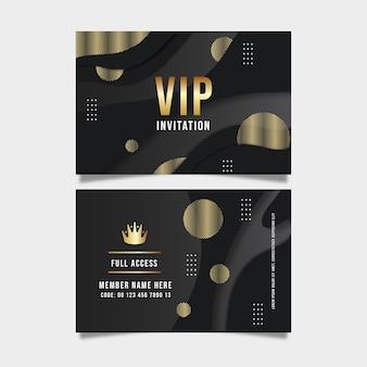 Realistische dunkle vip-kartenvorlage mit goldenen details