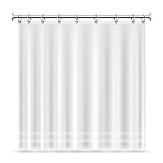 Realistische duschvorhangschablone für badezimmerinnenraum. vorhang für bad- und duscheinrichtung