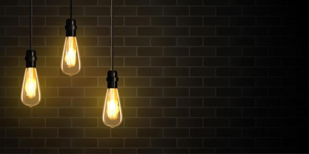 Realistische edison-glühbirne leuchtet im dunklen hintergrund.