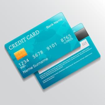 Realistische einfarbige kreditkarte