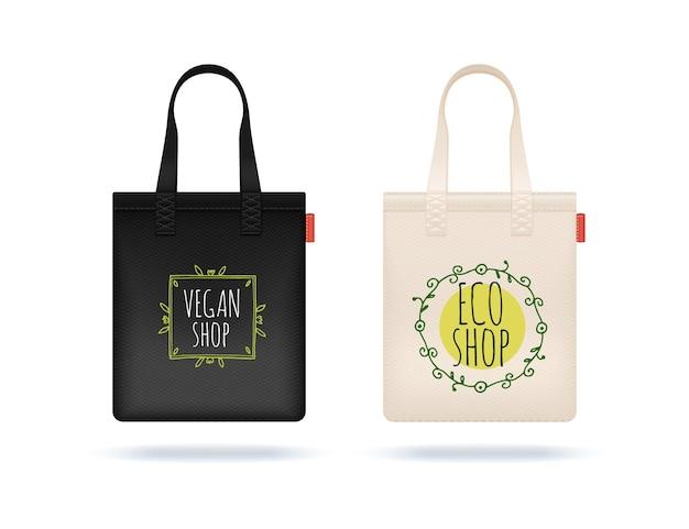 Realistische einkaufstasche. schwarz-weiße textiltaschen