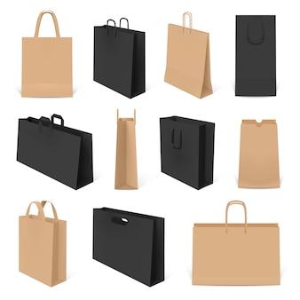 Realistische einkaufstaschen. papiertüte, bastelhandtaschen und corporate identity-verpackungen. paket tasche vorlagen modelle gesetzt. taschenpapier 3d, warenleerkaufillustration