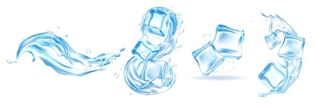 Realistische eiswürfel gesetzt. sammlung illustration von realistischen stil gezeichneten kristallflüssigkeitsstücken mit wasserspritzern. illustration von gefrorenen und flüssigen wasservorlagen, die in linie zeichnen.
