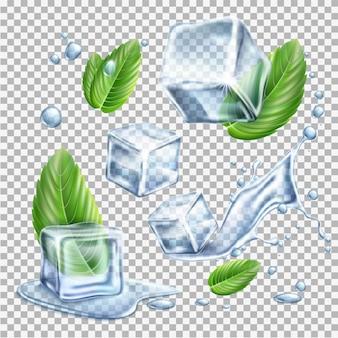 Realistische eiswürfel mit grünen minzblättern und wassertropfen schmelzende eisblöcke für frisches erfrischungsgetränk