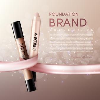 Realistische elegante weibliche kosmetische anzeigenschablone mit text und concealer klebt auf