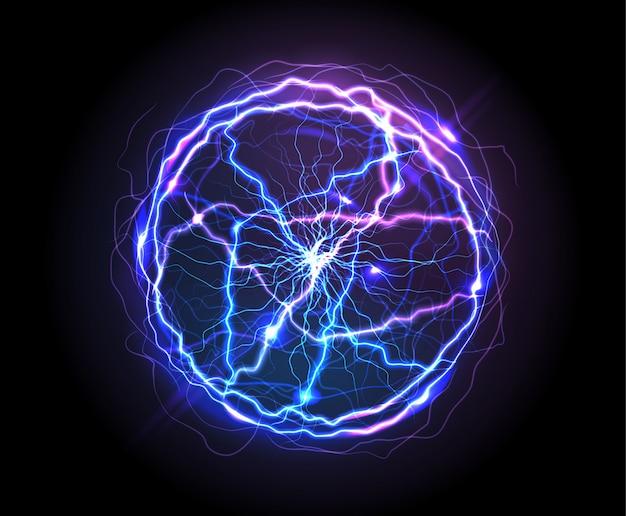 Realistische elektrische kugel oder abstrakte plasmakugel