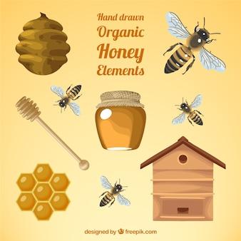 Realistische elemente von honig