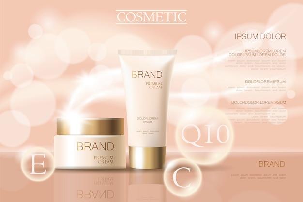 Realistische empfindliche kosmetische anzeigenfahnenschablone 3d einzeln aufgeführt