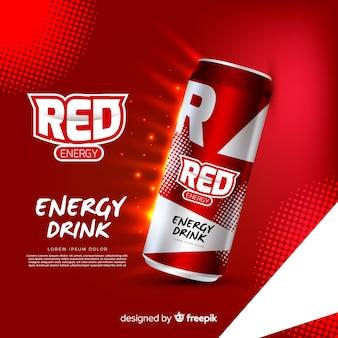 Realistische energy drink anzeigenvorlage