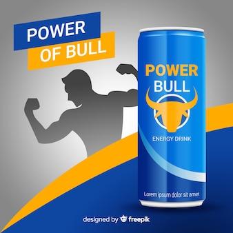 Realistische energy-drink-werbung