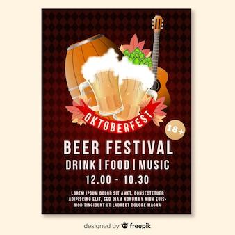 Realistische entwurfsvorlage oktoberfest plakat