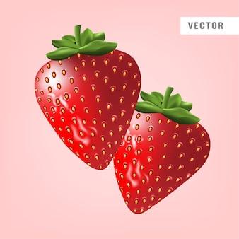 Realistische erdbeere lokalisiert auf rosa