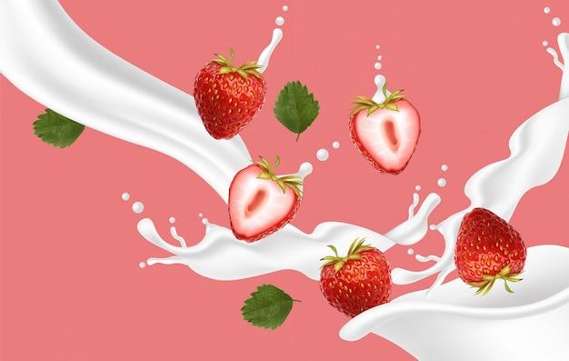 Realistische erdbeere mit spritzmilch, erdbeerjoghurt