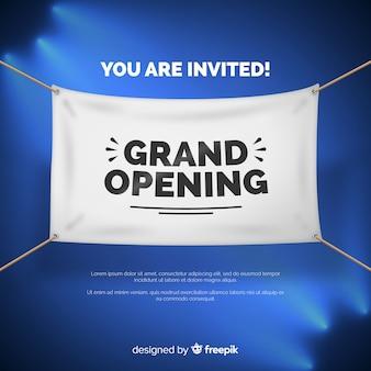 Realistische eröffnung bald banner vorlage