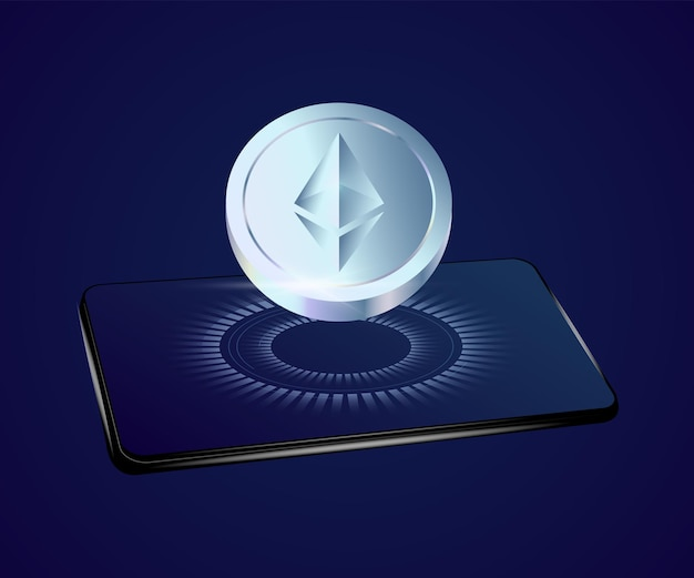 Realistische ethereum-münze, die vom telefon fliegt