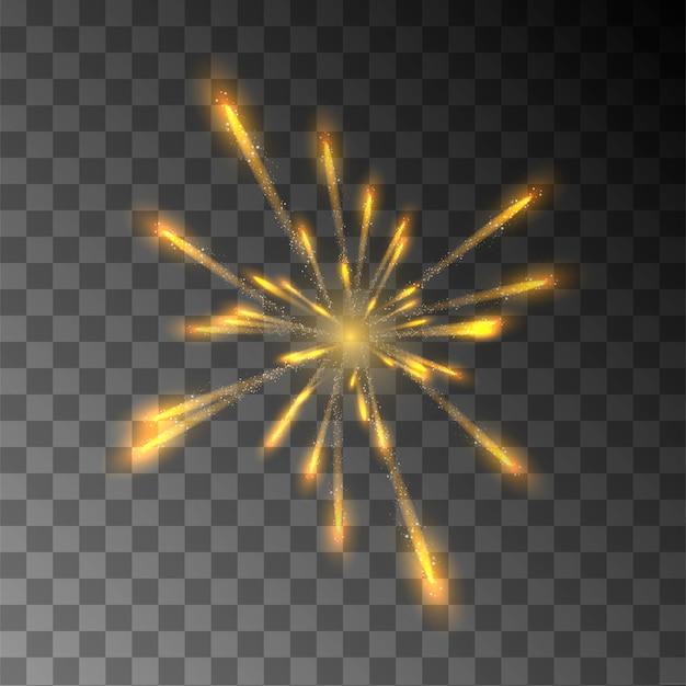 Realistische explosion. feuerwerk. heller blitz.
