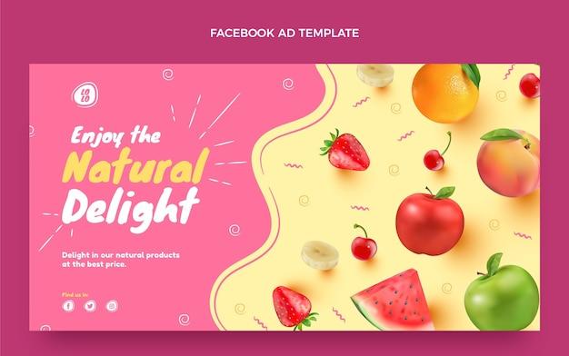 Realistische facebook-vorlage für lebensmittel