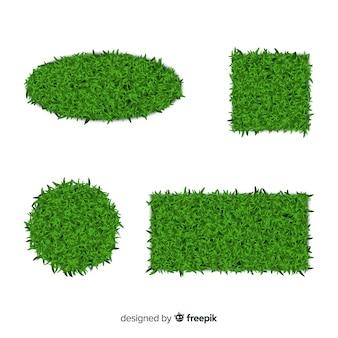 Realistische fahnensammlung des grünen grases