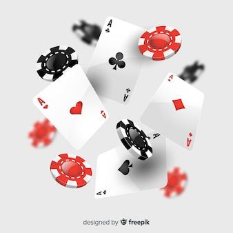 Realistische fallende kasinochips und -karten
