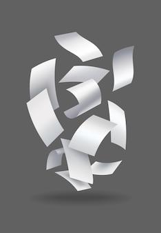 Realistische fallende papierblätter. satz von fliegenden gebogenen blättern aus papier. vektorloses aufsteigen von noten mit gekräuselten kanten. fliegen sie verstreute notizen, leere chaotische papiere.