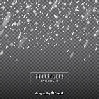 Realistische fallende schneeflocken im transparenten hintergrund