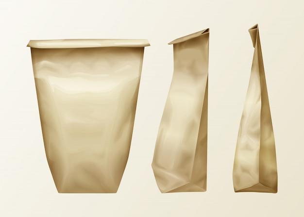 Realistische faltige papiertüte verschiedene ansicht eingestellt. lunch pack oder food snack, küchenzutaten